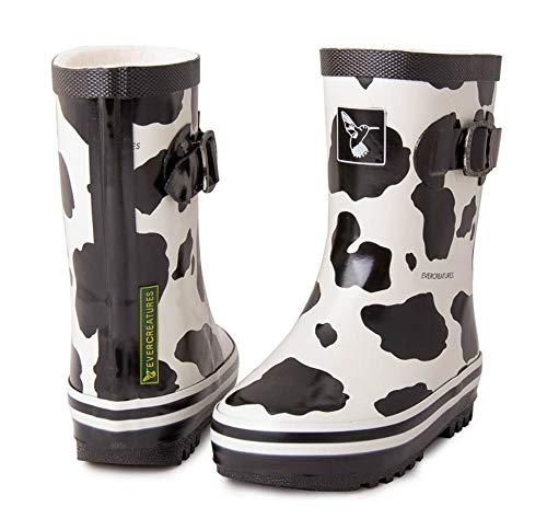 Work Cow Black Femme Wellingtons Cow Noir Evercreatures White qYtd5wxYg