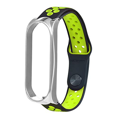 CreazyBee New Lightweight Ventilate Sport Soft Silicone Replacement Wristband Wrist Strap for Xiaomi Mi Band 4 (Green)