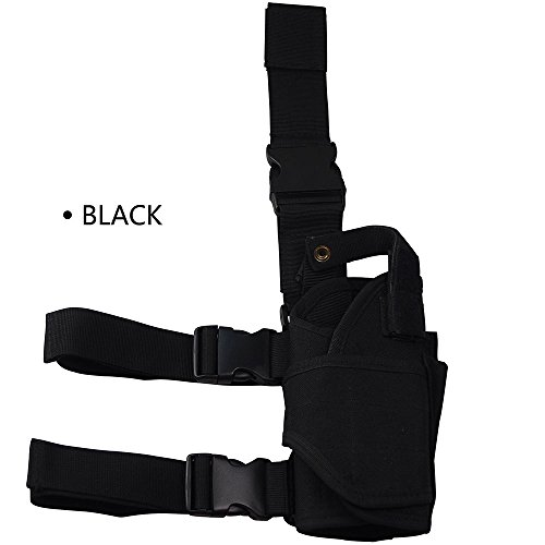 Toonol Drop Leg Adjustable Right Handed Tactical Thigh Pistol Holster for Military Outdoor Fans Color Black (Shoulder Strap Gun Holster Costume)