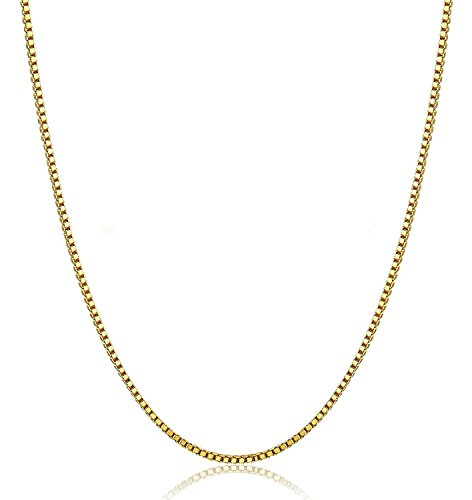 14K Gold Box Chain Necklace Gold Over Semi-Precious Metals, Pendant Necklace Made Thin For Charms, Strong, Comes in Box GIFT with Lobster Clasp - Black Is In Friday Usa Sale When
