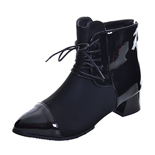 s Ankle Boots Patchwork Chunky Heel Leather Bootie Shoes Zip Pointy Toe Fashion Boots (Patchwork Flat Shoes)