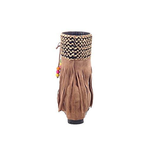 AllhqFashion Mujeres Sin cordones Puntera Cerrada Tacón Alto Gamuza(Imitado) Caña Baja Botas camello