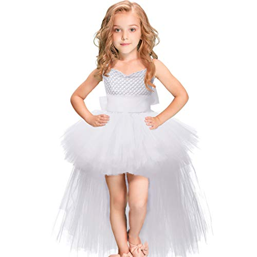Girls Tutu Dress with Train Handmade V-Neck Tulle Evening Wedding Birthday Party Dresses for Kids Ball Gown (White,Large(5-6years)) -