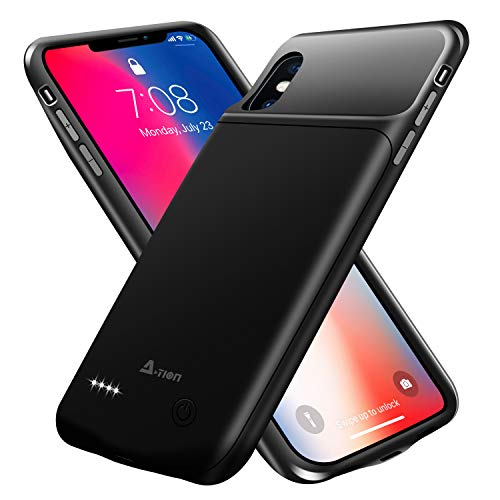 A-TION iPhone X Battery Case, 3200mAh Ultra Slim Portable Charging Case (5.8 inch) Protective Charger Case Extended Power Pack Compatible with iPhone X / Apple 10 - Support Wire Headphones (Black)