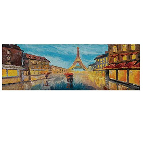 (Eiffel Tower Microwave Oven Cover,Couple with Umbrella on Historical Street to Eiffel Tower Paris Art Cover for Kitchen,36
