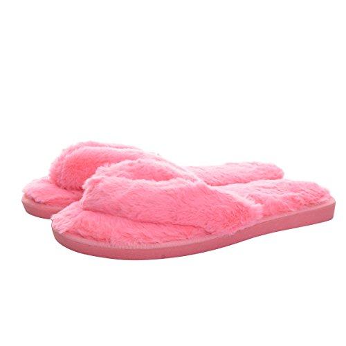 Caro Tempo Pantofola Di Pelliccia Faux Donne Coperta Scivolare Morbido Su Appartamenti Scarpe Rosse Infradito