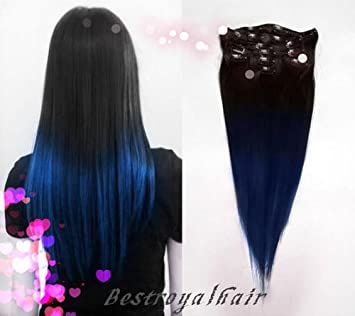 Amazoncom Black To Blue Two Colors Ombre Hair Extensions Indian