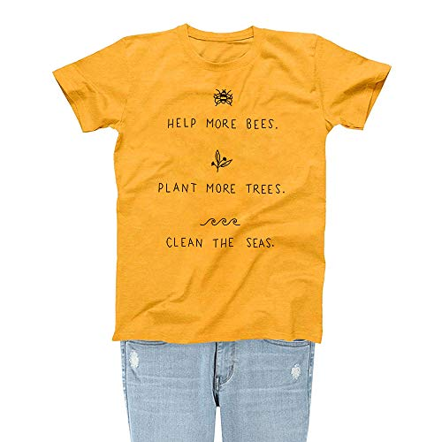 Bee Womens T-shirt - Rocksir Women Help More Bees Save The Bees Theme Lovely Summer Yellow T-Shirt Girl TEES(S Bees 2)