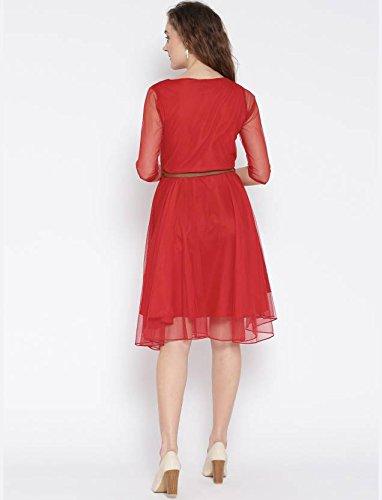 Minceur Des Femmes Manches 3/4 Croisé Ajustement Et Flare Rouge Robe Élégante