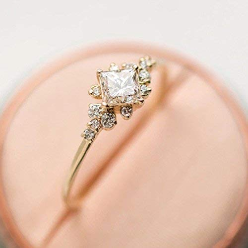 Duan Tiny Crystal Ring Gold Color Ring Dazzling Princess Cut White Sapphire 18K Rose Gold Ring Wedding Jewelry Sz 6-10 (US Code - Cut Sapphire Crystal