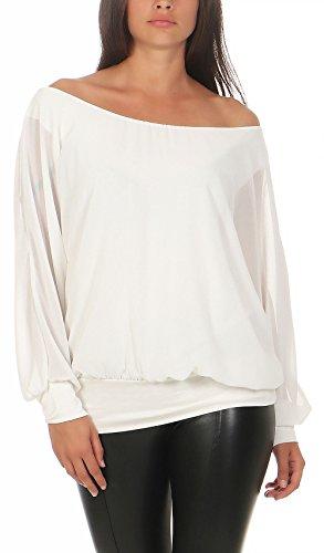 Pipistrello guarda Elegante Donna Unica Malito Bianco Lunghe Taglia 6291 Camicetta w1nnxH