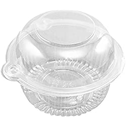 Aketek 50 x Plastic Single Individual Cupcake Muffin Dome Holders Cases Boxes Cups Pods