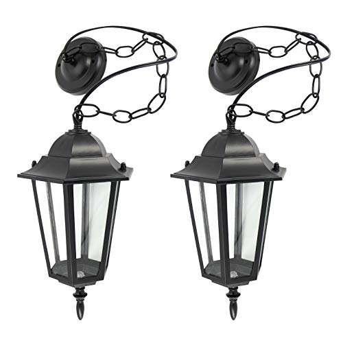 (IN HOME 1-Light Outdoor Pendant Lantern L01 Series Traditional Design Black Finish Clear Glass Shade (2 Pack), ETL Listed )