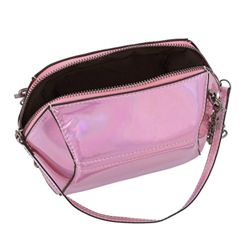 Bag Candice Handbag Hologram Evening Women Chain Purse Bag Pink Crossbody Shoulder Holographic Leather Fashionable PU Bag 6rUw4aq6x