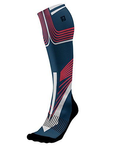 Designer Compression Socks Graduated for Performance and Recovery by Acel (Carver Red, L)