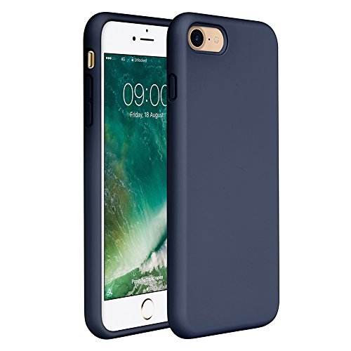 "iPhone 8 Case Liquid Silicone, iPhone 7 Silicone Case Miracase Gel Rubber Full Body Protection Shockproof Cover Case Drop Protection for Apple iPhone 7/ iPhone 8(4.7"") (Navy Blue)"