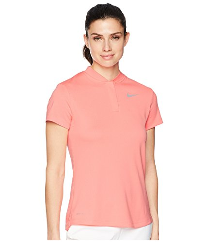 Dog Womens Golf Shirt - Nike Dri Fit Shortsleeve Blade Collar LC Golf Polo 2018 Women Light Atomic Pink/Flat Silver X-Small