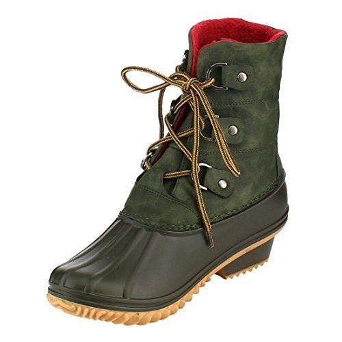 Nature Breeze FF94 Women's Lace Up Studded Duck Style Ankle Booties, Color:OLIVE, Size:10