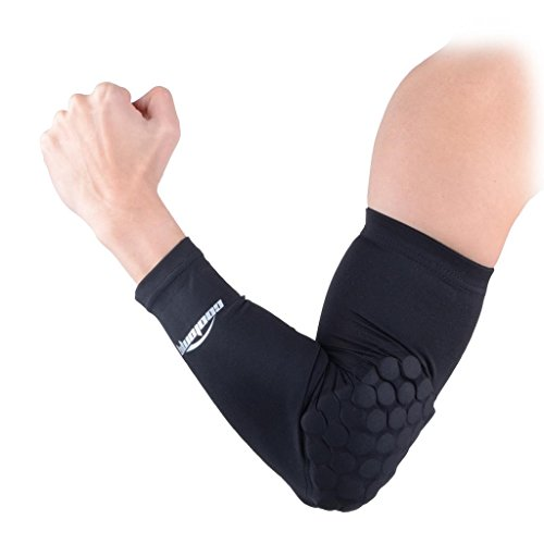 COOLOMG Combat Basketball Pad Protector Gear Shooting Hand Arm Elbow Sleeve Adult/Child, Black, Small