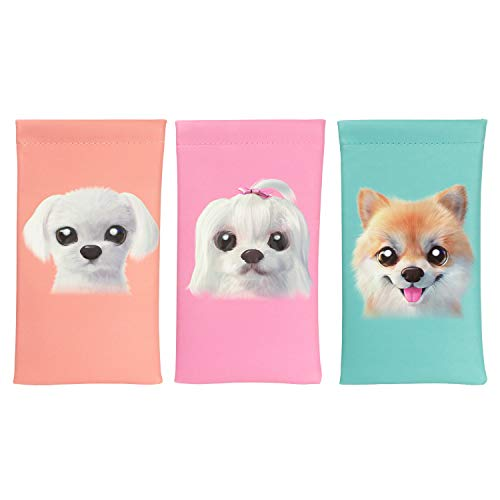 Vemiss 3 PACK Eyeglasses Pouch PU Leather Sunglasses Bag Cosmetic Holder with Cleaning Cloth (Dog)