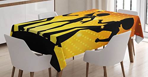 Ambesonne 70s Party Tablecloth, Dancing People in Disco Night Club with Afro Hair Style Bokeh Backdrop, Dining Room Kitchen Rectangular Table Cover, 60 W X 90 L inches, Orange Yellow