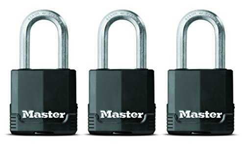 Shackle Laminated Steel Padlock - Master Lock Padlock, Magnum Covered Laminated Steel Lock, 1-7/8 in. Wide, M115XTRILF (Pack of 3-Keyed Alike)