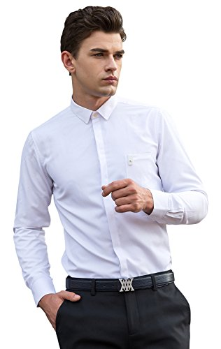 XTAPAN Men's Business Casual Slim Fit Long Sleeve Button Down Dress Shirt White Asian 3XL=US L 045