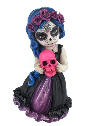 6 Inch Day of the Dead Dia de los Muertos Pink Skull Gothic Figure Statue