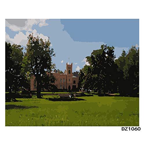 LovetheFamily 数字油絵 数字キット塗り絵 手塗り DIY絵 デジタル油絵 ホーム オフィス装飾 40x50cm 教会の商品画像
