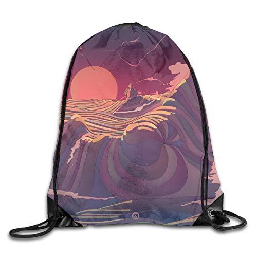 (Mr.Roadman 3D Print Drawstring Backpack Portable Shoulder Bags Travel Sport Gym Bag Yoga Runner Daypack Shoe Bags - Fantasy Ocean Wave Graphics)