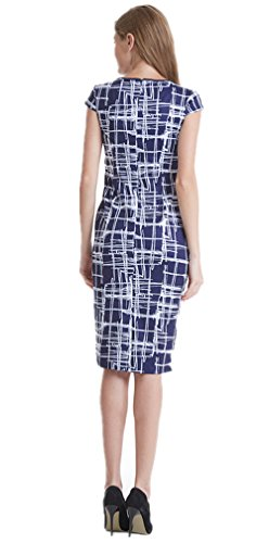 DB White to Wear Dress MOON Print Blue Plaid Sheath Work Women's Casual and Sw7ArqS