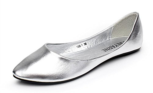 Aisun Womens Simple Comfy Slip On Flat Loafers Silver P68lT