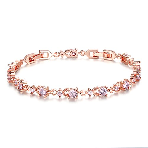 (BAMOER Luxury Slender Rose Gold Plated Bracelet with Sparkling Pink Cubic Zirconia Stones)