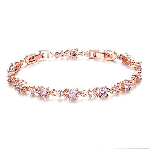Bamoer Luxury Slender Rose Gold Plated Bracelet with Sparkling Pink Cubic Zirconia Stones
