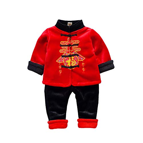 (Moonnut Baby Boy Girl Winter Fleece Traditional Chinese Clothes Tang Suit New Year Kung Fu Outfits Coat Set Red + Black)