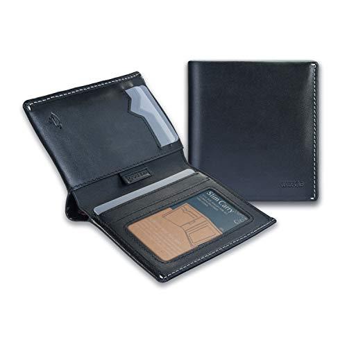 Calfskin Billfold Wallet - IKEPOD Slim Carry Men Bifold Wallet (8 Color) Italy Leather RFID Front Pocket Billfold with ID Window