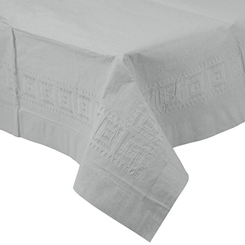 710236B 54'' x 108'' Shimmering Silver Tissue / Poly Table Cover - 24/Case By TableTop King by TableTop King