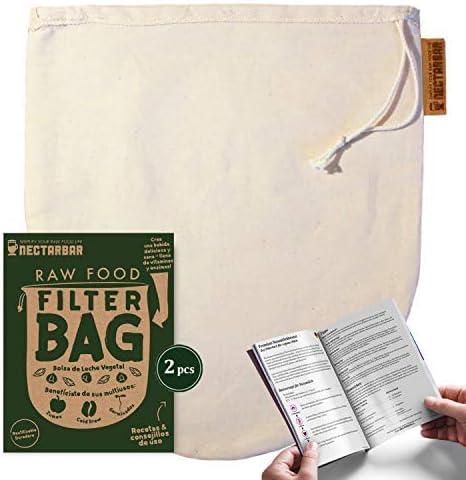 NECTARBAR Eco Raw Food Filter Bag - Bolsa de Leche Vegetal 100 ...