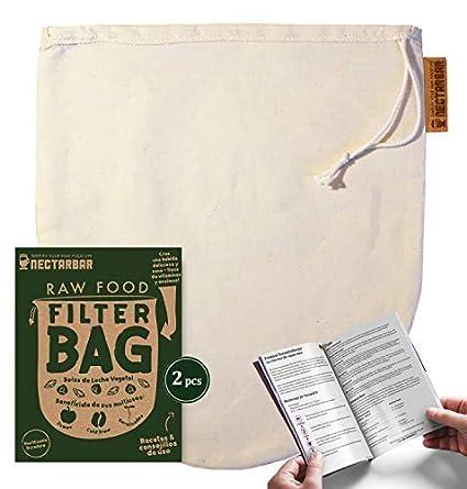 NECTARBAR Eco Raw Food Filter Bag - Bolsa de Leche Vegetal 100% Algodón Natural (2 por Pedido) | Filtro para Leche de nueces, de almendras, fermenter ...