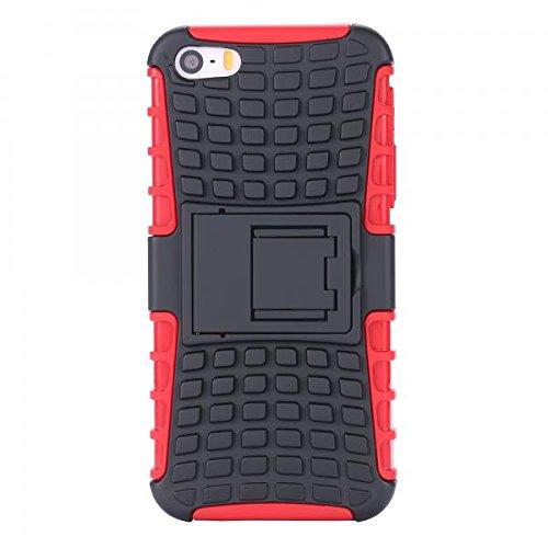 ECENCE Apple iPhone SE / 5 5S Hybrid Outdoor Funda Cover Coraza Protección Caja Caso Bumper Silicona Negro 21040304 Rojo