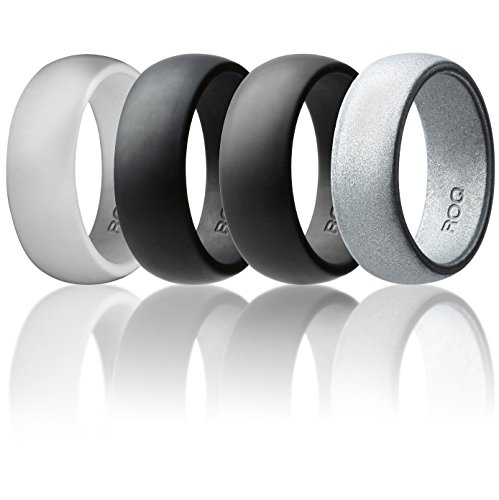 Silicone Wedding Ring For Men By ROQ Affordable Silicone Rubber Band, 4 Pack - Light Gray, Metal Look Silver, Black, Grey - Size 12