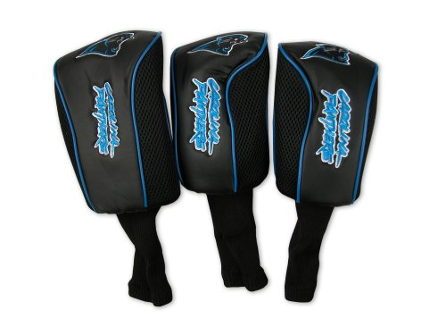 Carolina Panthers Embroidered Leather - Carolina Panthers 3 Pack Mesh Longneck Headcover Set