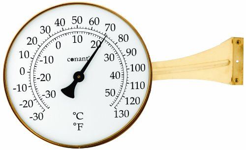 (Conant T10LFB Vermont Dial Thermometer, Large, Living Finish Brass)