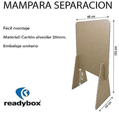 MAMP007 Pantalla de Protección de cartón, para mostrador de 86x153. Mampara ligera y resistente fabricada en panel de cartón nido de abeja de 2 cm.