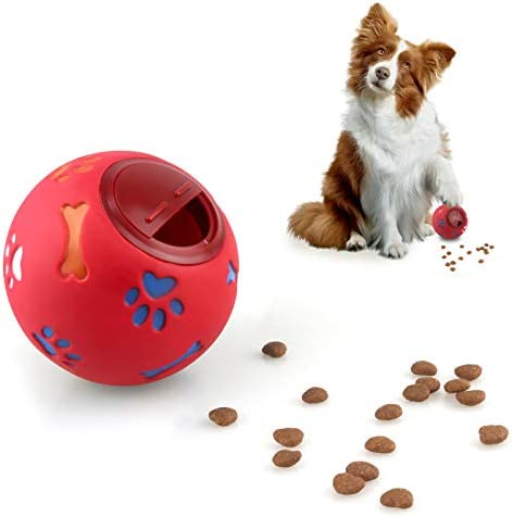 MEKEET Dog Puzzle Feeder Toy Ball Puppy Slow Feeder Toy Dog Treat Ball,Puppy Treat Dispenser Puzzle Slow Feeder Dog Toy Interactive Toys Training Games For Dogs Cats Rabbits Hamsters (Red)