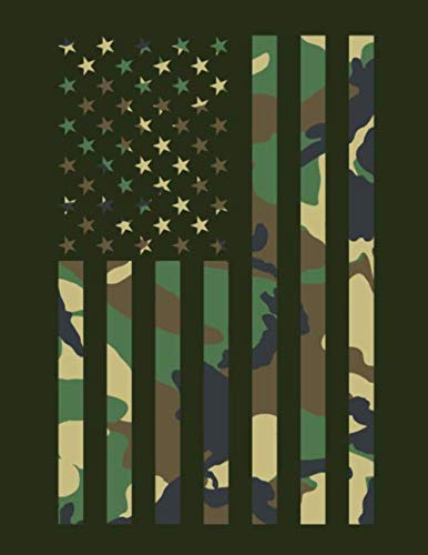 Land Of The Brave: Camouflage American Flag Composition Notebook Journal Military Theme College-Ruled Lined Multi-Purpose Woodland Camo Diary Notepad ... Work, Home, Hunting, Fishing, Hobby, Planner.