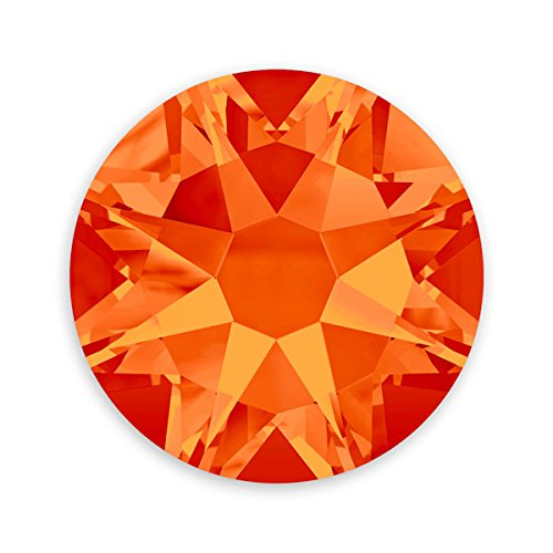 JewelrySupply Swarovski Crystal Flat Back Rhinestones (Glue-on) 2088 6.5mm (SS30) Fire Opal Flat Back (Pack of 5)
