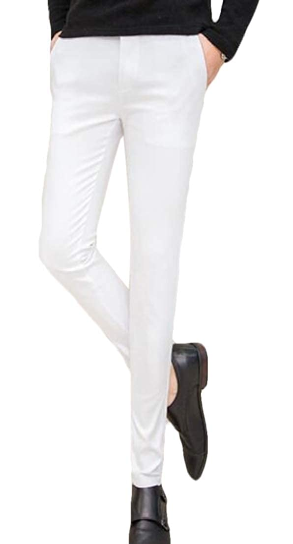UUYUK Men Thin Skinny Workwear Casual Slimming Straight Leg Pants