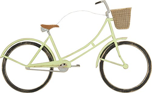 Primitives by Kathy Weathered Wood Wall Art, 18.5 x 11-Inches, Bicycle with Basket