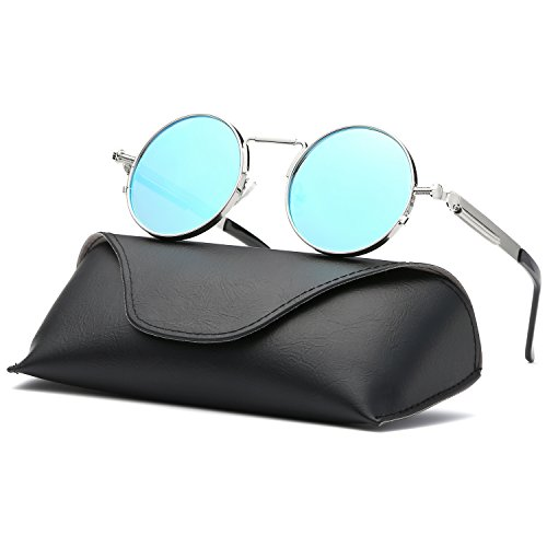 Ray Parker Gothic Round Metal Frame with Mirrored Lenses for Men Sunglasses RP6634 with Silver Frame/Blue - Rims Rays